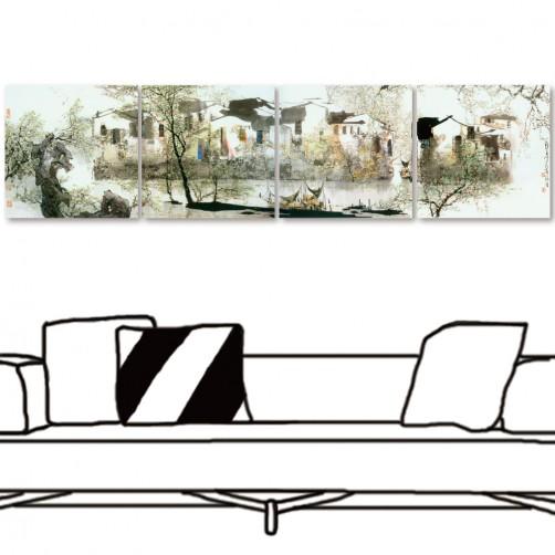 四聯式 方型 無框畫 掛畫 水墨畫 中國風 家飾品-湖畔-30x30cm