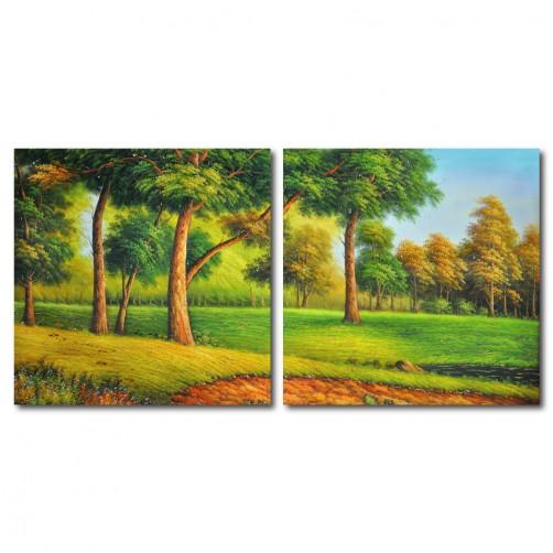 二聯式 方型 風景 樹木 無框畫 客廳 民宿 餐廳 飯店 書房 家居裝飾 -前進 30x30cm