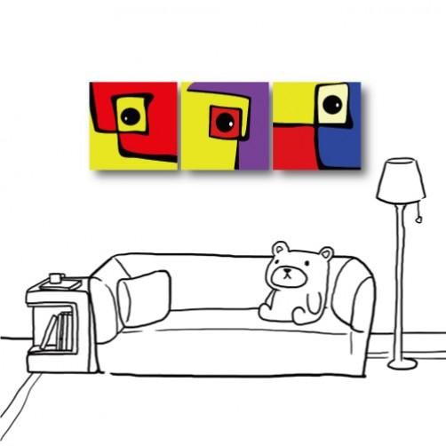 【123點點貼】三聯式 方型 壁貼 無框畫壁貼-童趣-30x30cm