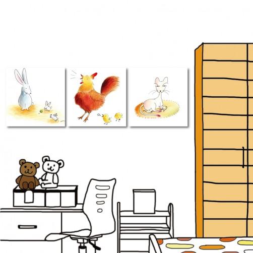 【123點點貼】 壁貼 無框畫壁貼 小孩房布置 三聯式 30x30cm-動物媽媽