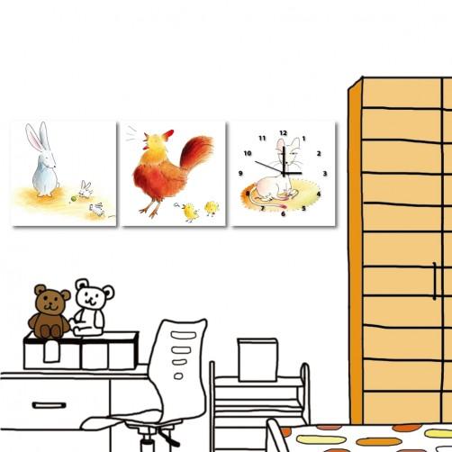 無框掛畫 小孩房掛畫 三聯式 30x30cm-動物媽媽
