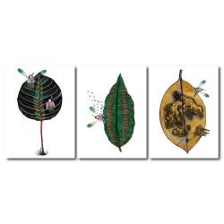 【123點點貼】 手繪風 無框畫壁貼 小孩房飾品 三聯式 30x40cm-樹葉小精靈