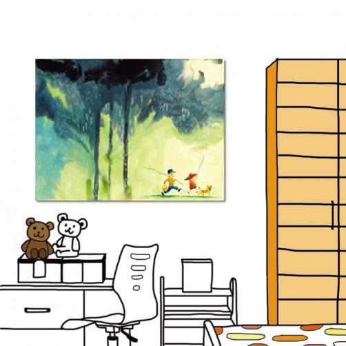 【123點點貼】24mama 壁貼 牆貼 家居飾品 單聯式 橫幅 40x30cm-童時回憶