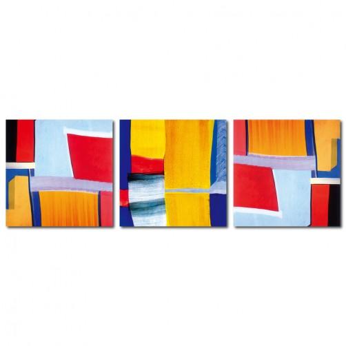 三聯式 方型 普普風 抽象 油畫 無框畫 掛畫 家飾品 -想像力-30x30cm