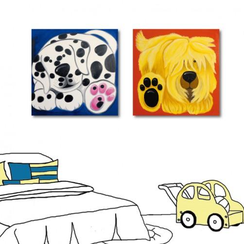 二聯式 方形 無框畫 動物 狗 小孩房裝飾 幼稚園裝潢 童趣掛畫 補習班時鐘 掛鐘 -大頭狗-30x30cm