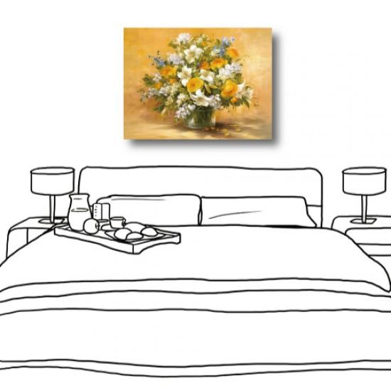 單聯式 橫幅 花卉 油畫 主臥室 歐式風格 民宿 餐廳 家居裝飾 圖書館-欣欣向榮-40x30cm