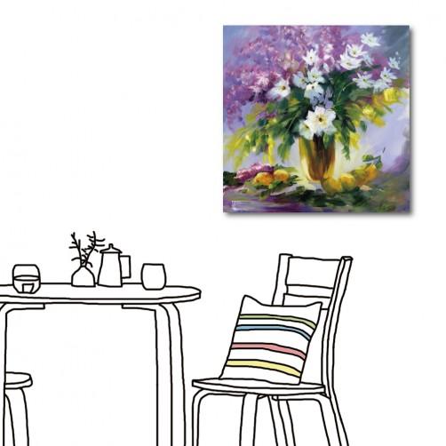 單聯 方形 花卉 花店 紫色 無框畫 掛畫 家具裝潢 民宿 餐廳 主臥室 家居裝飾 圖書館-神祕氣息-30x30cm