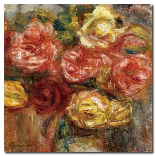 【123點點貼】無痕壁貼 玫瑰壁貼 歐式風格 單聯式 30x30cm-紅黃玫瑰