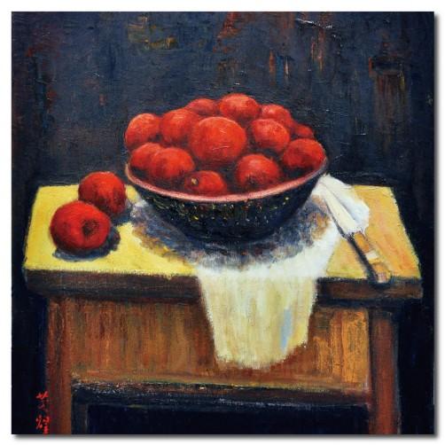 單張 方形 水果 蘋果 無框畫 客製化 餐廳擺設 廚房裝潢 家居飾品-紅寶石-30x30cm