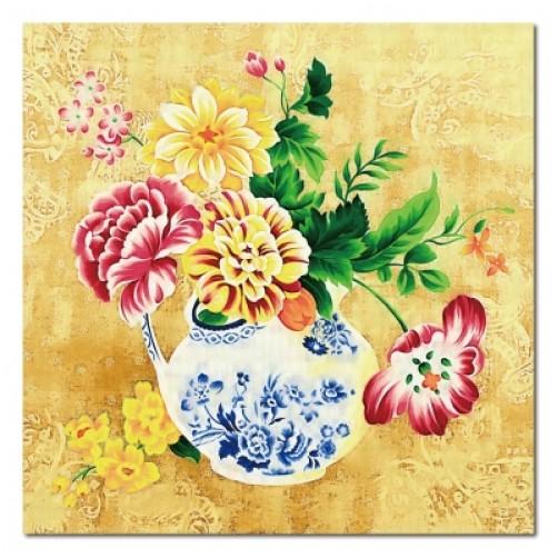 單張 方形 花卉 中式無框畫 民宿餐廳擺設 家居裝飾 流行家飾 橙品油畫布 寢室傢俱-典雅-30x30cm