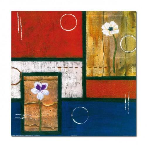 單張 方形 抽象 花卉 民宿飯店擺設 家居裝飾 圖書館 流行家飾 寢室傢俱-方框中的花朵-30x30cm