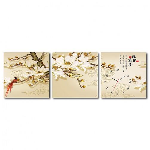三聯式 方型 中國風 古畫 民宿 壁畫 新居落成 家居擺設 -雅室蘭香30x30cm