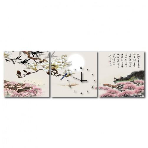 三聯式 方型 中式掛畫 中國風 文字掛畫 無框畫 長輩禮 客廳 辦公室裝飾 喜氣 掛畫-月景-30x30cm