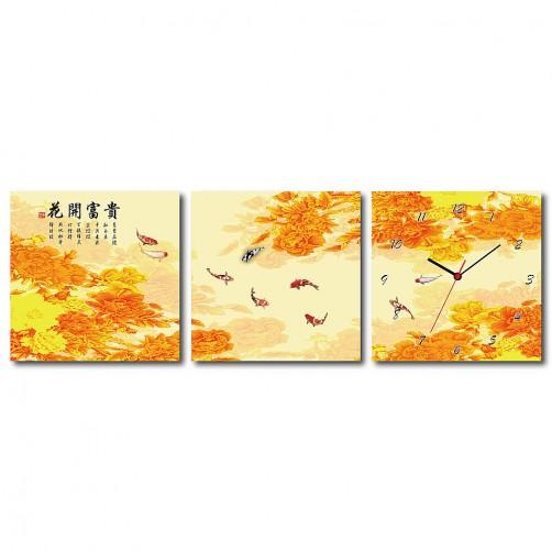 三聯式 方型 動物 魚 鯉魚 中國風 無框畫 長輩禮 客廳 辦公室裝飾 喜氣 掛畫-富有餘-30x30cm