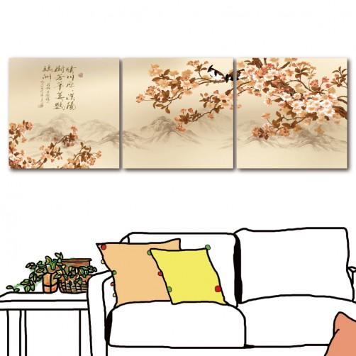 掛畫 中國風無框畫 家居掛畫 三聯式 30x30cm-晴川