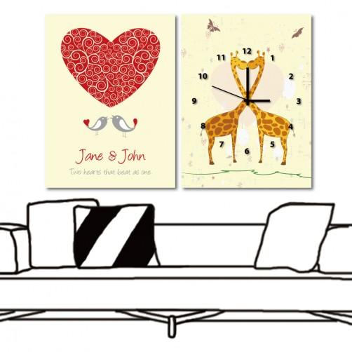 二聯式 直幅 動物 長頸鹿 鳥 北歐風 家飾品 民宿飯店裝潢 咖啡廳-愛你一輩子-30x40cm