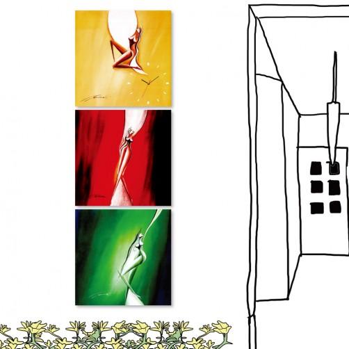 24mama 三聯式無框畫 時鐘掛畫 餐廳掛畫 -30X30cm-韻動