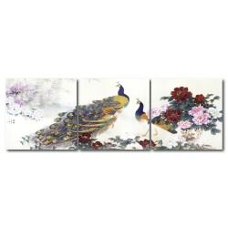 無框畫 牡丹掛畫 三聯式 方形30x30cm-孔雀與牡丹