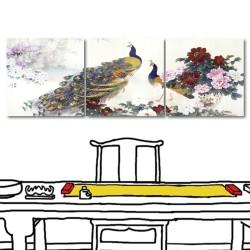 【123點點貼】壁貼 無框畫壁貼 牡丹壁貼 三聯式 30x30cm-孔雀與牡丹