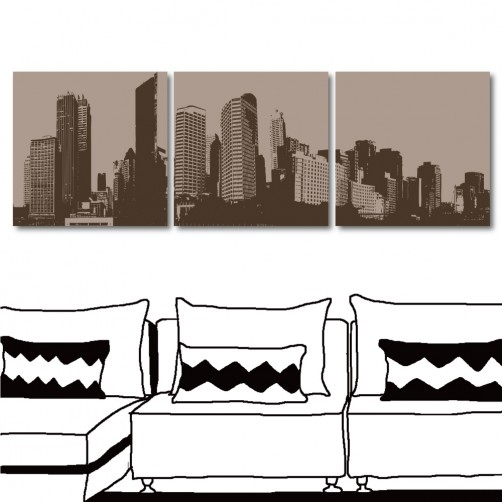 【123點點貼】 建築壁貼 無框畫壁貼 流行家飾 三聯式 30x30cm-都市構圖