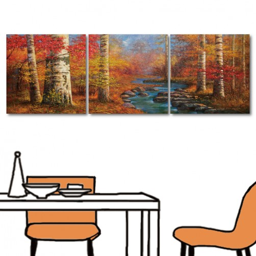 風景無框畫 鄉村風掛畫 流行家飾 三聯式 方形30x30cm-秋色