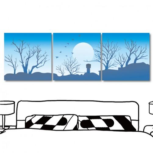掛畫 藝術無框畫 風景掛畫 三聯式 方形30x30cm-天藍藍