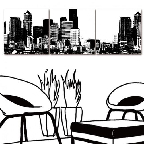 三聯式 方形 黑白 建築 無框畫 家飾品 流行家飾-摩登夜晚-30x30cm