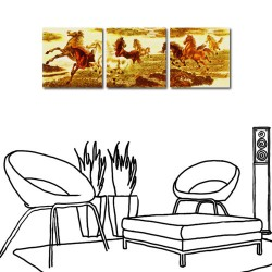24mama 壯烈-馬/三聯式/方形/長輩禮/民宿/家居擺飾/壁畫30x30cm