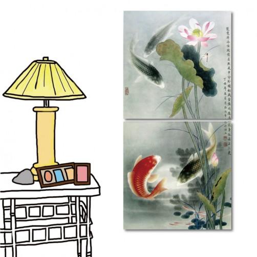 無框畫 文字掛畫 中國風 二聯式 30x30cm-蓮池鯉魚
