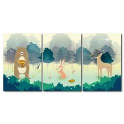 【123點點貼】 24mama 藝術壁貼 壁貼 窗貼  三聯式 直幅 40x60cm-動物森林
