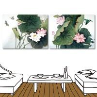 【123點點貼】蓮花壁貼 中國風無痕壁貼 二聯式 30x40cm-蓮花