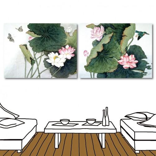 蓮花無框畫 家居掛畫 掛畫花卉 二聯式 橫幅 40x30cm-蓮花