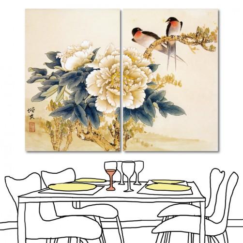 無框畫 掛畫 民宿 二聯式 40x60cm-燕與牡丹