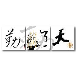 三聯式 方型 中國風 文字掛畫 無框畫 長輩禮 家居布置 辦公室裝飾 喜氣 家飾品-天道酬勤-30x30cm