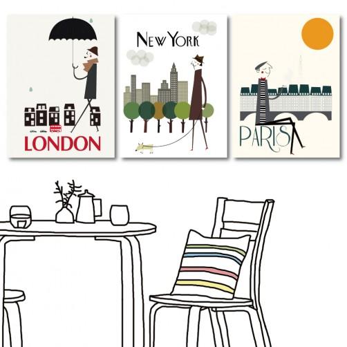 【123點點貼】 壁貼 時尚壁貼 家具飾品 三聯式 30x40cm-旅行世界