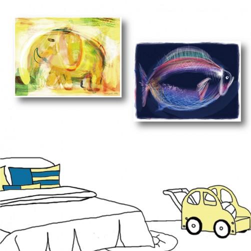 二聯式 橫幅 動物 大象 魚 小孩房裝飾 幼稚園裝潢 手繪風 書房 無框畫 民宿 餐廳 飯店 家居裝飾-霓虹-40x30cm