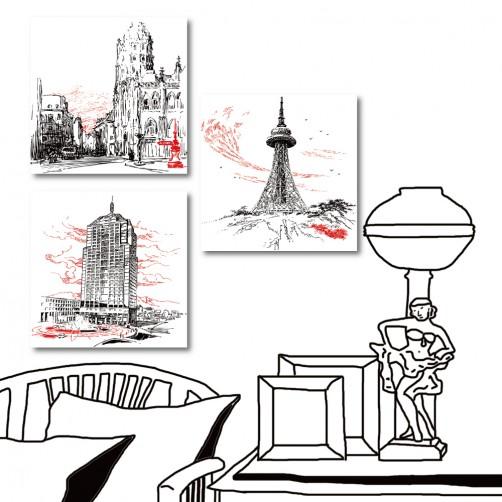 三聯式 方形 建築 著名地標 無框畫 主題餐廳裝潢 民宿裝飾 餐廳裝潢-標註-30x30cm