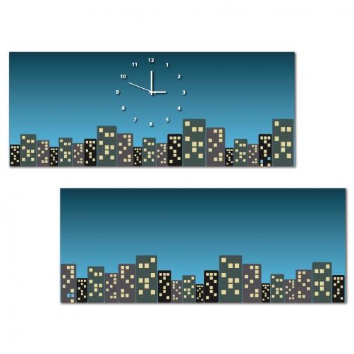 二聯式 橫幅 夜景 夜晚 無框畫 客廳 民宿 餐廳 飯店 壁鐘-浪漫城市50x20cm