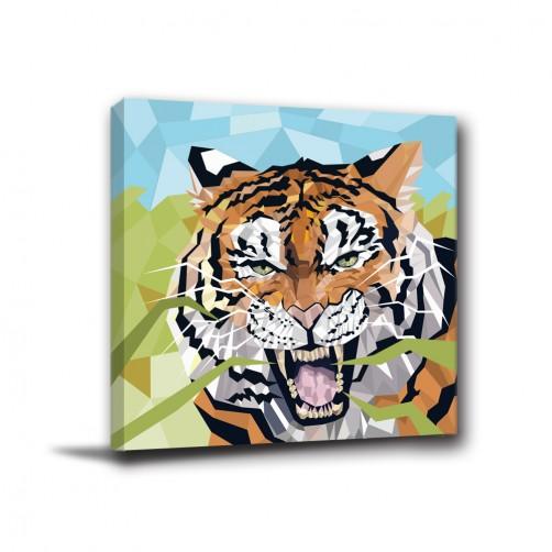 單聯式 方形 動物 老虎 幾何 不規則 華麗 印象派 家居裝飾 辦公室 無框畫 民宿 -森林之王30x30cm