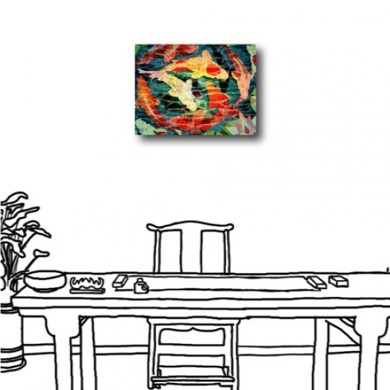 單聯式 橫幅 無框畫 掛鐘 壁鐘 油畫布 鑽石布掛畫 壁畫 家飾品-鯉魚-40x30cm