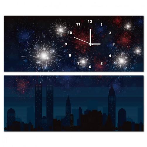 二聯式 橫幅 夜景 夜晚 煙火 無框畫 客廳 民宿 餐廳 飯店 壁鐘-夏日煙花50x20cm