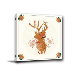單聯式 方型 動物 童趣 小孩房 無框畫 掛鐘 壁鐘 聖誕佈置 客廳 民宿 餐廳 飯店 家居裝飾-雪花麋鹿30x30cm