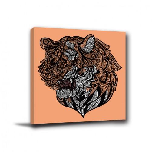 單聯式 方形 動物 獅子 幾何 不規則 華麗 印象派 家居裝飾 辦公室 無框畫 民宿 -動物之王30x30cm