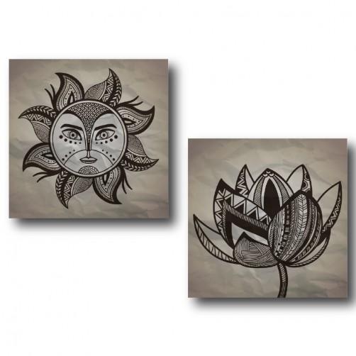 二聯式 二聯式 方型 灰色 太陽 手繪風 書房 小孩房 圖書館 無框畫 客廳 民宿 餐廳 飯店 家居裝飾-太陽神-30x30cm
