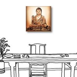 單聯式 方型 咖啡廳 手繪風 書房 無框畫 掛鐘 壁鐘 客廳 民宿 餐廳 飯店 家居裝飾-佛祖30x30cm