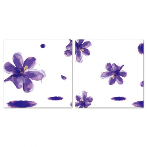 二聯式 方型 無框畫 掛鐘 壁鐘 花店 客廳 民宿 餐廳 飯店 花面壁鐘-萬紫千鴻30x30cm