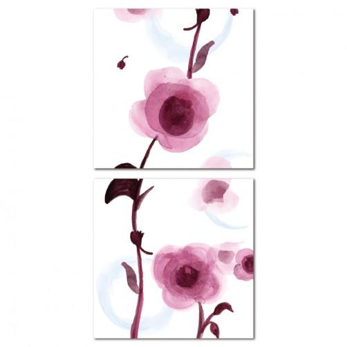 二聯式 方型 無框畫 掛鐘 壁鐘 客廳 民宿 餐廳 飯店 花卉-幸福蔓延30x30cm