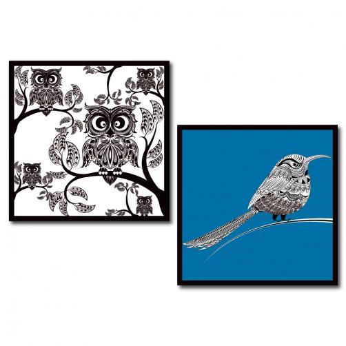 二聯式 方型 印象派 黑白 藍色 鳥 貓頭鷹 無框畫 掛鐘 壁鐘 客廳 餐廳 飯店 家居裝飾 民宿 - 鳥的描繪30x30cm