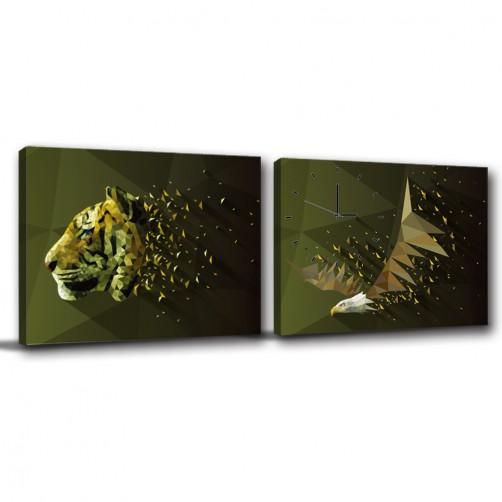 二聯式 橫幅 動物 老虎 老鷹 小孩房佈置 圖書館 主題餐廳 無框畫 親子民宿裝潢 -奔馳40x30cm