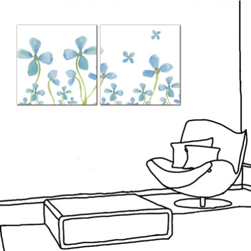 二聯式 方型 無框畫 掛鐘 壁鐘 花店 客廳 民宿 餐廳 飯店 花卉-藍花朵朵30x30cm